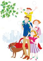 肩車をする親子と犬と車 10431000364| 写真素材・ストックフォト・画像・イラスト素材|アマナイメージズ