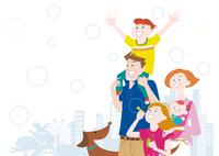 シャボン玉と肩車をする親子と犬 10431000367| 写真素材・ストックフォト・画像・イラスト素材|アマナイメージズ