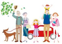 車を停めて犬の散歩をする三世代家族 肩車をする親子 10431000369| 写真素材・ストックフォト・画像・イラスト素材|アマナイメージズ