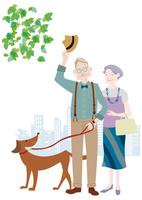 犬の散歩をするおしゃれな老夫婦 10431000374  写真素材・ストックフォト・画像・イラスト素材 アマナイメージズ