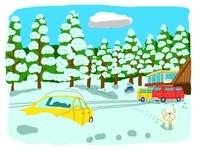 雪が積もる山小屋と車と犬