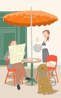 カフェで新聞を読む人