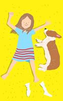 寝転がる子供と犬