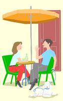 カフェでくつろぐ人たち 10434000014| 写真素材・ストックフォト・画像・イラスト素材|アマナイメージズ
