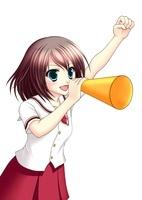 メガホンを持って応援する女子生徒(夏服) 10438000016| 写真素材・ストックフォト・画像・イラスト素材|アマナイメージズ