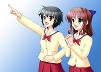 指差す2人の女子生徒(冬服) 10438000019| 写真素材・ストックフォト・画像・イラスト素材|アマナイメージズ