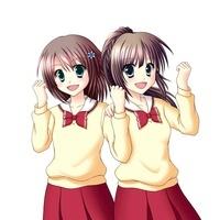 笑顔でガッツポーズをする2人の女子生徒(中間服・冬服) 10438000027| 写真素材・ストックフォト・画像・イラスト素材|アマナイメージズ