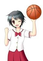 バスケットボールを持ちガッツポーズの女子生徒(夏服) 10438000032| 写真素材・ストックフォト・画像・イラスト素材|アマナイメージズ