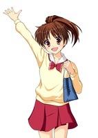 笑顔で手を挙げる通学中の女子生徒(中間服・冬服) 10438000033| 写真素材・ストックフォト・画像・イラスト素材|アマナイメージズ