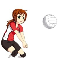 バレーボールでレシーブする女子生徒