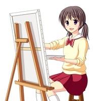 キャンバスに絵を描く美術部の女子生徒(中間服・冬服) 10438000038| 写真素材・ストックフォト・画像・イラスト素材|アマナイメージズ