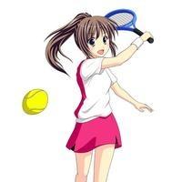 テニスで元気にショットを決める女子生徒