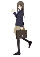 手を振る通学中の女の子
