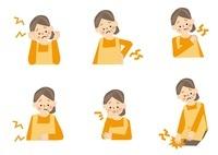 中年女性 腰痛 肩こり 腹痛 頭痛