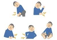 関節痛 こむらがえり 水虫 腰痛 腹痛 中年男性 10447000025| 写真素材・ストックフォト・画像・イラスト素材|アマナイメージズ