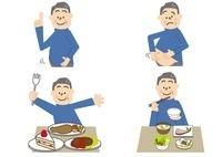 メタボリック 食事 中年男性 10447000029| 写真素材・ストックフォト・画像・イラスト素材|アマナイメージズ