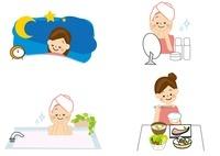 美容 睡眠 お風呂 食事 女性 10447000059| 写真素材・ストックフォト・画像・イラスト素材|アマナイメージズ