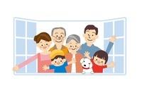 家族 窓 10447000117| 写真素材・ストックフォト・画像・イラスト素材|アマナイメージズ