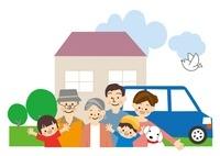 家族 家と車 10447000118| 写真素材・ストックフォト・画像・イラスト素材|アマナイメージズ