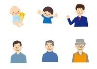 赤ちゃん こども 中高生 男性 中年高齢者 10447000156| 写真素材・ストックフォト・画像・イラスト素材|アマナイメージズ