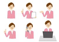 OL 受付 事務 女性 パソコン 電話