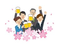 花見 桜とビールを飲む男性と女性
