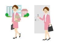 通勤 女性 カギをかける 10447000344| 写真素材・ストックフォト・画像・イラスト素材|アマナイメージズ