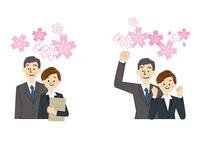 新入社員 桜 男性と女性 10447000345| 写真素材・ストックフォト・画像・イラスト素材|アマナイメージズ