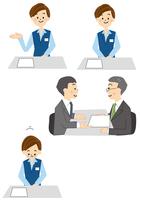 受付の女性と商談するビジネスマン