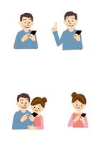 スマートフォン 男性と女性