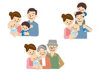 若い家族と高齢の祖父