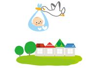 赤ちゃんとコウノトリ 10447000497| 写真素材・ストックフォト・画像・イラスト素材|アマナイメージズ