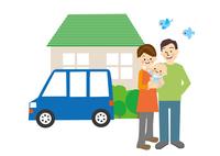 家と車と家族 10447000502| 写真素材・ストックフォト・画像・イラスト素材|アマナイメージズ