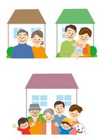 家と三世代家族 10447000505| 写真素材・ストックフォト・画像・イラスト素材|アマナイメージズ