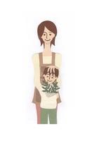 植物を持つ少年と母親