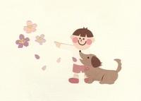 犬と桜を見る少年