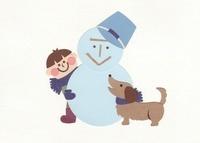 犬と少年と雪だるま 10448000008| 写真素材・ストックフォト・画像・イラスト素材|アマナイメージズ