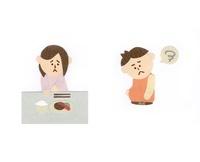 食欲不振の女性と肥満の男性 10448000021| 写真素材・ストックフォト・画像・イラスト素材|アマナイメージズ