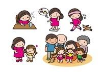 頭痛 健康を考える女性 家族の集合