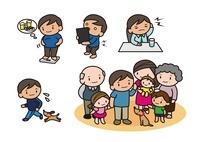 肥満 腰痛 頭痛 健康を考える男性 家族の集合