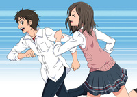 走る男女の学生
