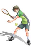 テニスをする少年(白バック)