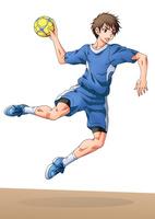 ハンドボールをする少年