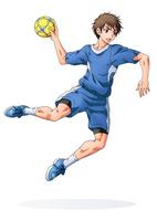 ハンドボールをする少年(背景なし)