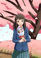 桜の下の卒業生 10456000061| 写真素材・ストックフォト・画像・イラスト素材|アマナイメージズ
