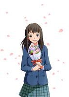 桜の下の卒業生 10456000062| 写真素材・ストックフォト・画像・イラスト素材|アマナイメージズ