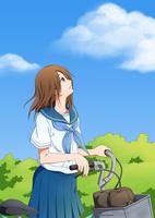 自転車を降りて空を見上げる女子学生