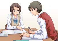 勉強中の男女の学生
