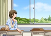 窓辺の席で外を眺める女子学生