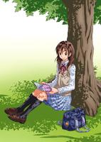 木の下で読書をする女子学生